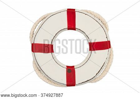 Weathered Old Whitewash Life Preserver With Rope Isolated On White