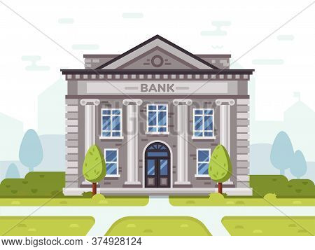 Bank Or Goverment Building. Architecture Business House In City, Government Financial Structure, Vec
