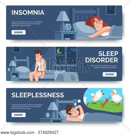 Insomnia, Sleep Disorder Isolated Banner Set. Insomnia In Bed, Disorder And Sleeplessness. Vector Il