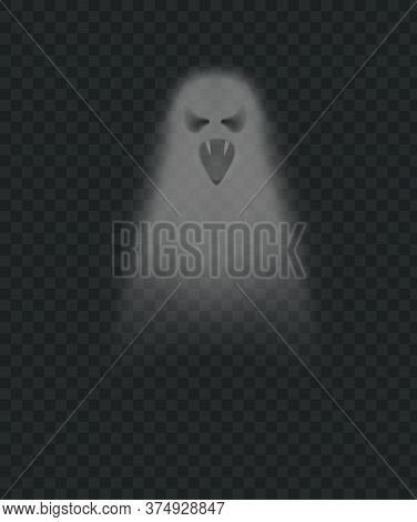 Realistic Scary Ghost. Isolated Vector Ghost And Poltergeist, Spirit Spooky, Soul Gray Evil Transpar