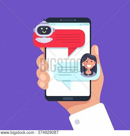 Mobile Phone Chatting With Chat Bot. Chat Talk Mobile, Bot Conversation Online, Vector Illustration.