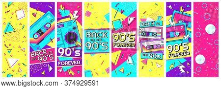 Retro 90s Banner. Nineties Forever, Back To The 90s And Pop Memphis Background Banners Vector Illust