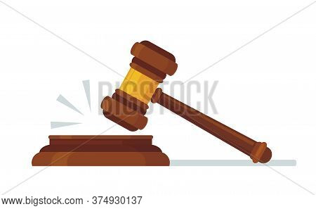 Judges Wooden Hammer. Judicial Decision, Hammer Blow For Rule Of Law And Judged By Laws Concept Cart