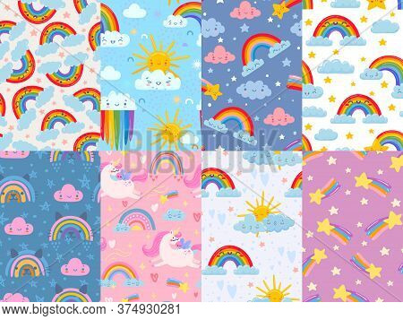 Seamless Cute Rainbow Pattern. Sky With Rainbows And Clouds, Magic Unicorn And Stars. Happy Smiling