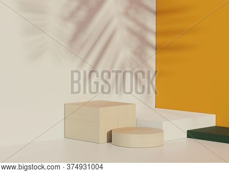 3d Geometric Forms. Empty Stand Podium In White Orange Color. Fashion Show Stage,pedestal, Shopfront
