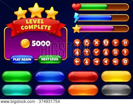 Game Ui. Level Complete Menu With Golden Stars And Buttons. Health Bar, Arrows And Play Button For M
