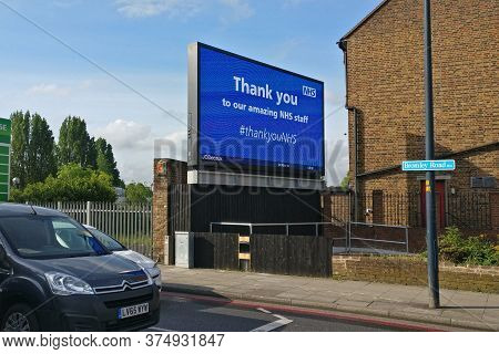 London, United Kingdom - May 04, 2020: Light Ad Display With Thank You Note To Nhs, Displayed At Lew