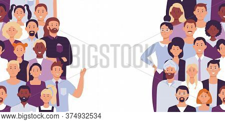 Divided People Crowd. Vector Divide Group, Community Diversity, Man Woman Unorganized Illustration,