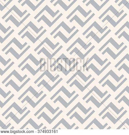 Vector Geometric Seamless Pattern With Lines, Meanders, Chain, Diagonal Grid. Traditional Ethnic Mot