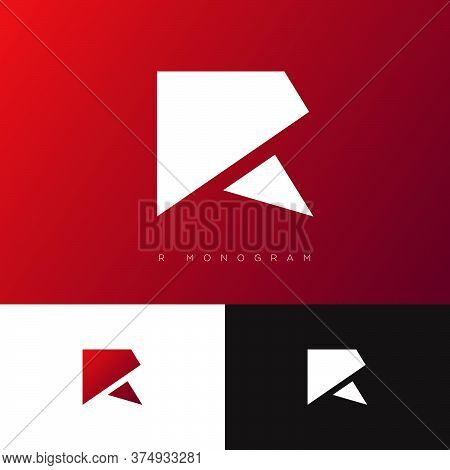 R Monogram. R Logo. Red Origami Logo On Dark  Background. Premium Business Emblem.