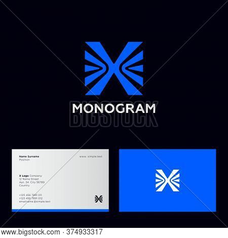 X Letter. X Monogram Consist Of Blue Letter X And Arrows On A Dark Background. Logo Can Use For Digi
