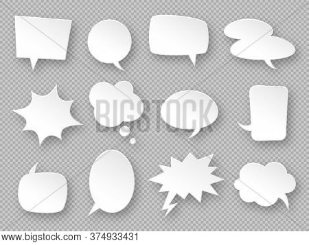 Paper Speech Bubbles. White Communication Bubbles, Thought Balloons. Messages Cloud, Dialog Chat, Bl
