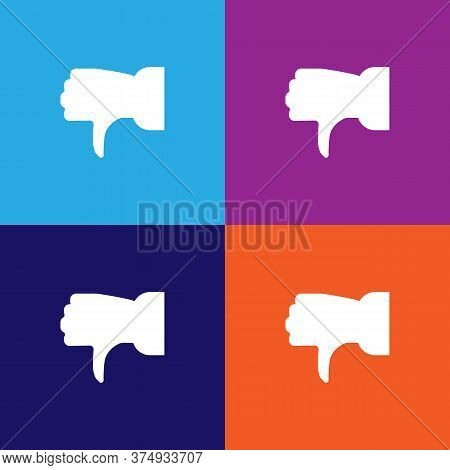 Thumb Down Illustration Icon On Multicolored Background