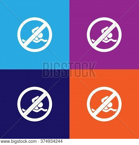 No Swimming, Prohibited Sign Illustration Icon On Multicolored Background
