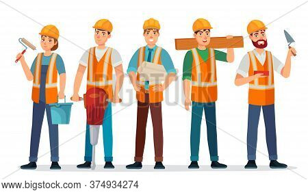 Professional Builders Team. Contractor In Helmet, Builder Engineer And Workers People Cartoon Vector