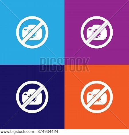 No Photo Camera Illustration Icon On Multicolored Background