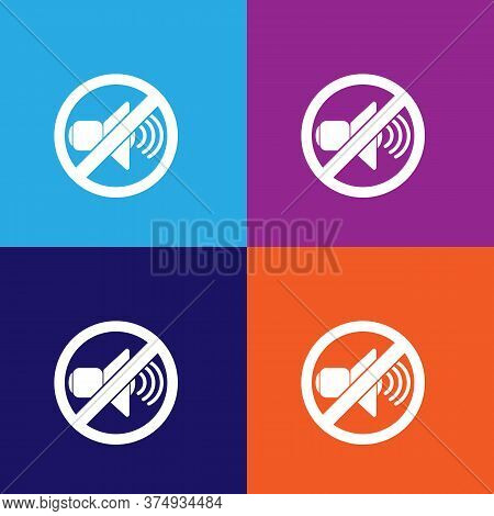 Forbidden Sign With Loudspeaker Illustration Icon On Multicolored Background