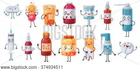 Cartoon Medicine Mascot. Cute Happy Pills Characters Kill Bacteria And Virus. Capsules, Tablets In B