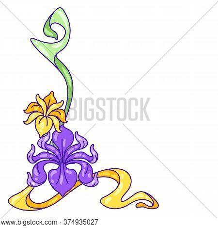Decorative Element With Iris Flowers. Art Nouveau Vintage Style. Natural Decorative Plants.