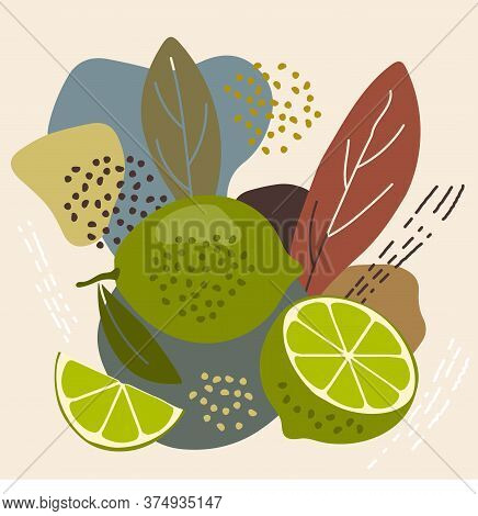 Abstract Pastel Colors Fruit Element Memphis Style. Vector Illustration Of Lime On Retro Abstract Ba