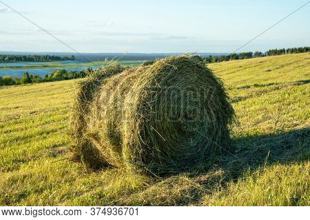 Haymaking On The Banks Of The River. Close-up Of A Bale Of Hay.