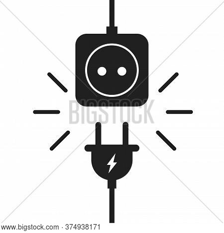 Plug And Socket. Electric Plug With Wire Cable And Socket.