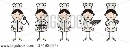 Set Of Characters In A Flat Style. Chief-cooker In Various Situations