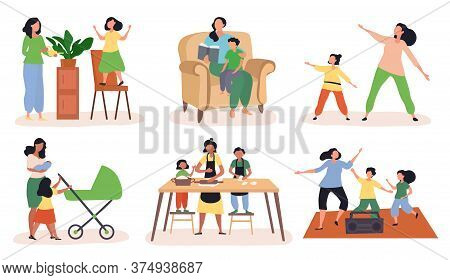 Set Of Six Scenes Showing Mums Doing Various Recreational Activities With Their Children, Colored Ve