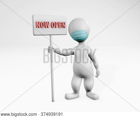 Fatty Man With A Mask Reopening Business 3d Rendering Isolated On White. Concept For Merchants Reope