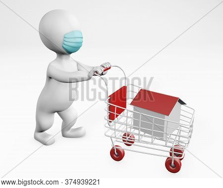 Fatty Man With A Mask Shopping For A House Or Home 3d Rendering Isolated On White