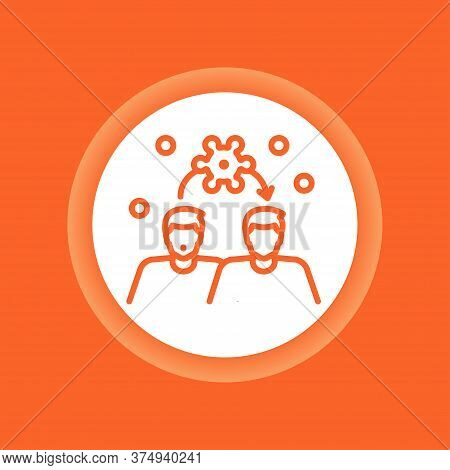 Spread Of Coronavirus Color Button. Respiratory Transmitted Icon. Pandemic Covid-19. Pictogram For W