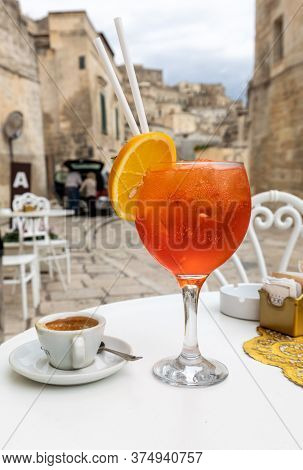 Matera, Italy - September 20, 2019: A Refreshing Aperol Spritz In One Of The Cafes In Sassi Di Mater