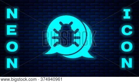 Glowing Neon System Bug Concept Icon Isolated On Brick Wall Background. Code Bug Concept. Bug In The