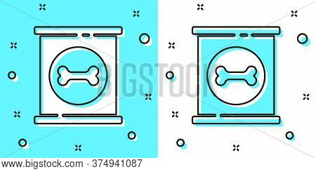 Black Line Canned Food Icon Isolated On Green And White Background. Food For Animals. Pet Food Can.