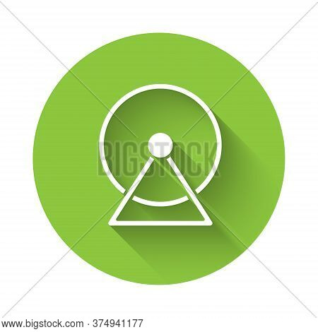 White Hamster Wheel Icon Isolated With Long Shadow. Wheel For Rodents. Pet Shop. Green Circle Button