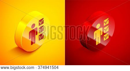 Isometric User Of Man In Business Suit Icon Isolated On Orange And Red Background. Business Avatar S