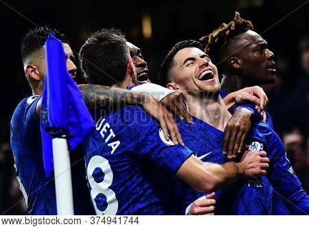 London, England - January 21, 2020: Jorge Luiz Frello Filho (jorginho) Of Chelsea Ceelbrates After S