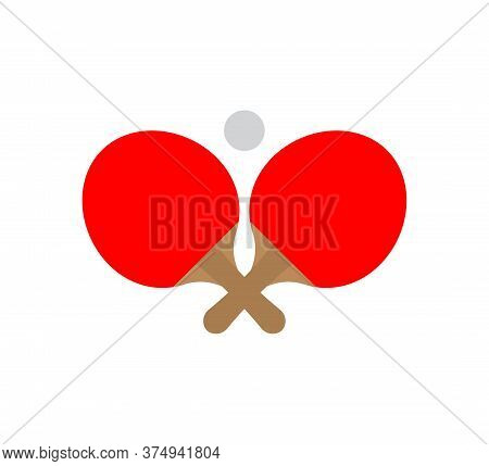 Vector Flat Black Ping Pong Table Tennis Crossed Rackets And Ball Icon Isolated On White Background