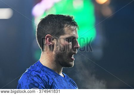 London, England - January 21, 2020: Cesar Azpilicueta Of Chelsea Pictured During The 2019/20 Premier