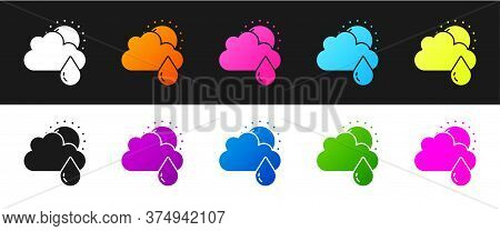 Set Cloud With Rain And Sun Icon Isolated On Black And White Background. Rain Cloud Precipitation Wi