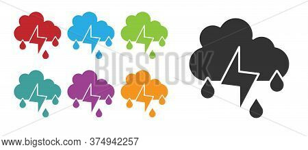 Black Cloud With Rain And Lightning Icon Isolated On White Background. Rain Cloud Precipitation With