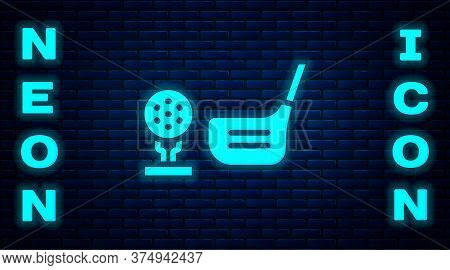 Glowing Neon Golf Flag And Golf Ball On Tee Icon Isolated On Brick Wall Background. Golf Equipment O