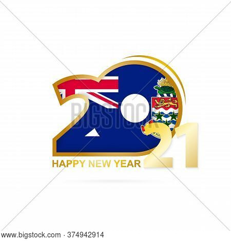 Year 2021 With Cayman Islands Flag Pattern. Happy New Year Design. Vector Illustration.