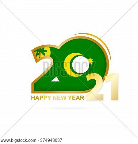 Year 2021 With Cocos Islands Flag Pattern. Happy New Year Design. Vector Illustration.