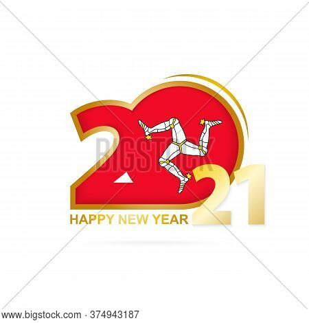 Year 2021 With Isle Of Man Flag Pattern. Happy New Year Design. Vector Illustration.