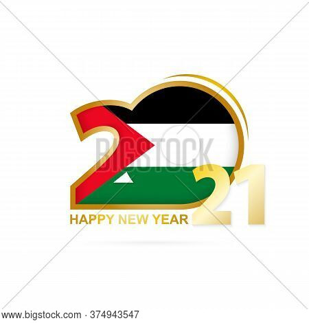 Year 2021 With Palestine Flag Pattern. Happy New Year Design. Vector Illustration.