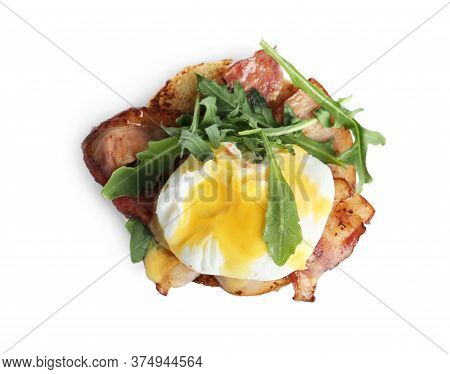 Fresh Delicious Egg Benedict Isolated On White, Top View