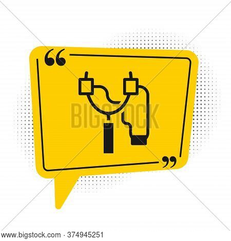 Black Slingshot Icon Isolated On White Background. Yellow Speech Bubble Symbol. Vector
