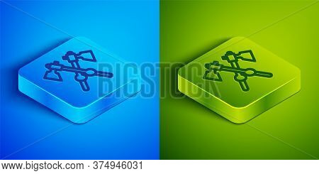 Isometric Line Crossed Medieval Axes Icon Isolated On Blue And Green Background. Battle Axe, Executi