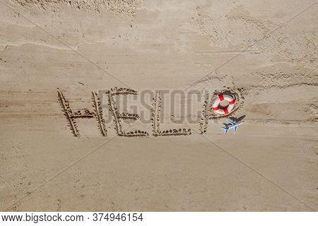 Help Me The Inscription On The Sand. Please Help Me. On A Tropical Beach